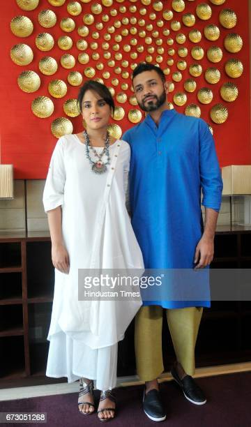 Actress Richa Chadda along with short film director Rupinder Inderjit Singh during the screening of short film Khoon Aali Chithi at Hyatt Hotel on...