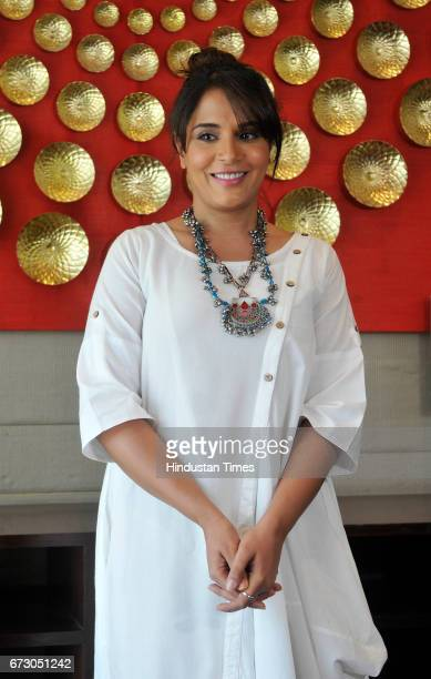 Actress Richa Chadda during the screening of short film Khoon Aali Chithi at Hyatt Hotel on April 25 2017 in Chandigarh India