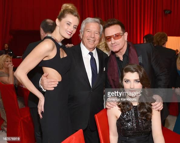 Actress Ricki Noel Lander Chairman and CEO of The Kraft Group Robert Kraft singer Bono of U2 and actress Eve Hewson attend the 21st Annual Elton John...