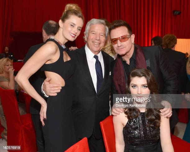 Actress Ricki Noel Lander Chairman and CEO of The Kraft Group Robert Kraft singer Bono of U2 and actress Eve Hewson attend the 21st Annual Elton John...