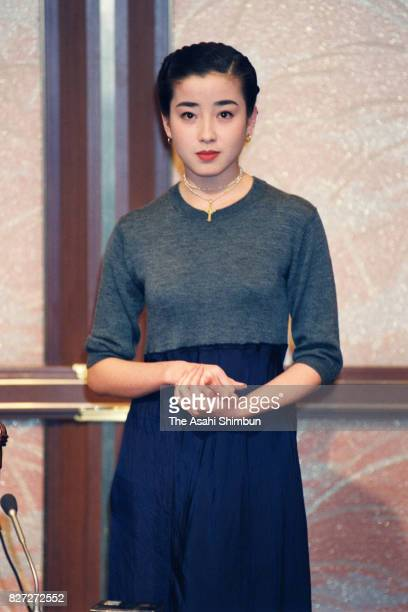 Actress Rie Miyazawa speaks during a press conference on the cancellation of her engagement with sumo wrestler Takanohana at Fujishima Stable on...