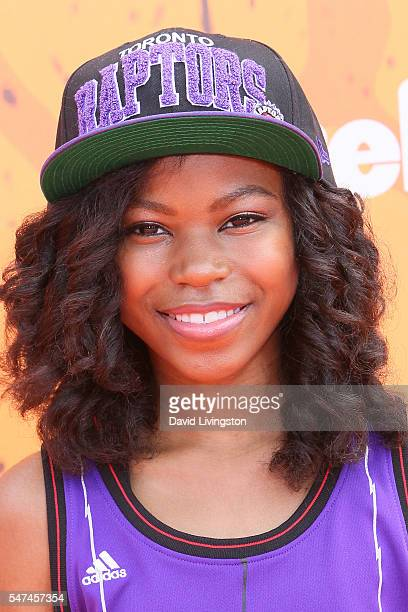 Actress Riele Downs arrives at the Nickelodeon Kids' Choice Sports Awards 2016 at the UCLA's Pauley Pavilion on July 14 2016 in Westwood California
