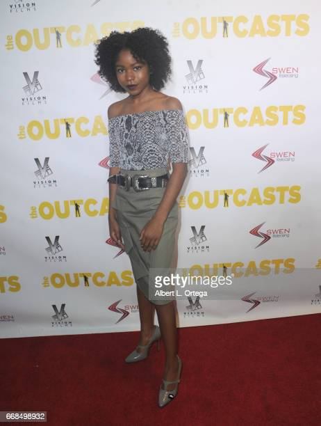 Actress Riele Downs arrives for the Premiere Of Swen Group's 'The Outcasts' held at Landmark Regent on April 13 2017 in Los Angeles California