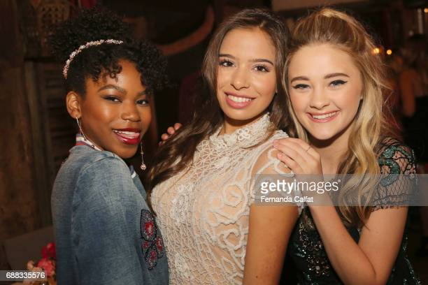 Actress Riele Downs Emilia Pedersen Teen Ambassador from Love Together Brasil and Lizzy Greene attend Fabiana Milazzo Love Together Brasil Charity...