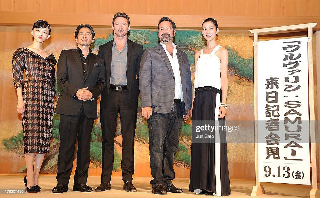Actress Rila Fukushima, actors Hiroyuki Sanada, Hugh Jackman, director James Mangold and actress Tao Okamoto attend 'The Wolverine' press conference at the Meguro Gajyoen on August 29, 2013 in Tokyo, Japan.