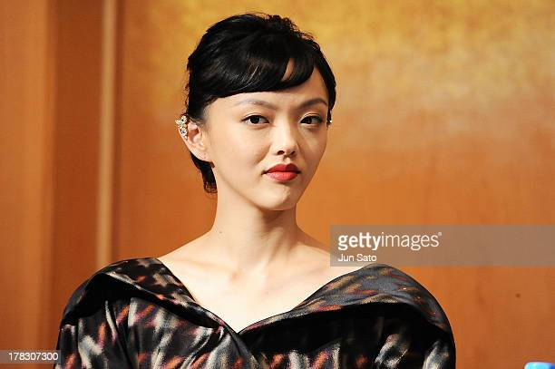 Actress Rila Fukushima attends 'The Wolverine' press conference at the Meguro Gajyoen on August 29 2013 in Tokyo Japan