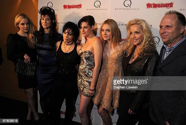 Actress Riley Keough director Floria Sigismondi musician Joan Jett actress Kristen Stewart actress Dakota Fanning and musician Cherie Currie attend...