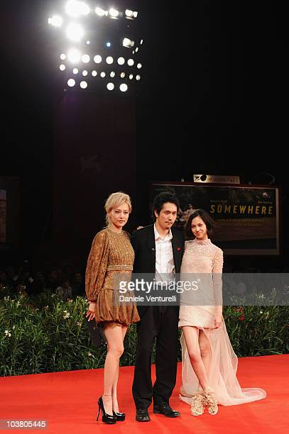 Actress Rinko Kikuchi actor Kenichi Matsuyama and actress Kiko Mizuhara attend the 'Norwegian Wood' premiere at the Palazzo del Cinema during the...