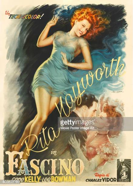 Actress Rita Hayworth and actor Gene Kelly appear on the Italian poster for the movie 'Cover Girl' 1944