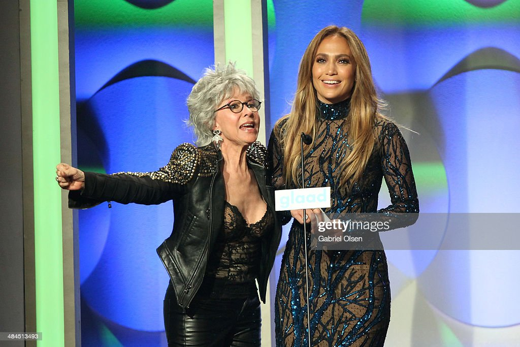 Actress <a gi-track='captionPersonalityLinkClicked' href=/galleries/search?phrase=Rita+Moreno&family=editorial&specificpeople=210549 ng-click='$event.stopPropagation()'>Rita Moreno</a> (L) and recording artist <a gi-track='captionPersonalityLinkClicked' href=/galleries/search?phrase=Jennifer+Lopez&family=editorial&specificpeople=201784 ng-click='$event.stopPropagation()'>Jennifer Lopez</a> speak onstage at the 25th Annual GLAAD Media Awards at The Beverly Hilton Hotel on April 12, 2014 in Los Angeles, California.
