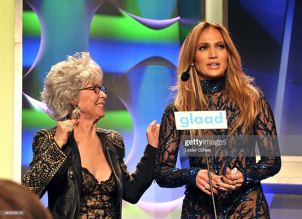 Actress Rita Moreno (L) and recording artist Jennifer Lopez speak onstage at the 25th Annual GLAAD Media Awards at The Beverly Hilton Hotel on April 12, 2014 in Los Angeles, California.