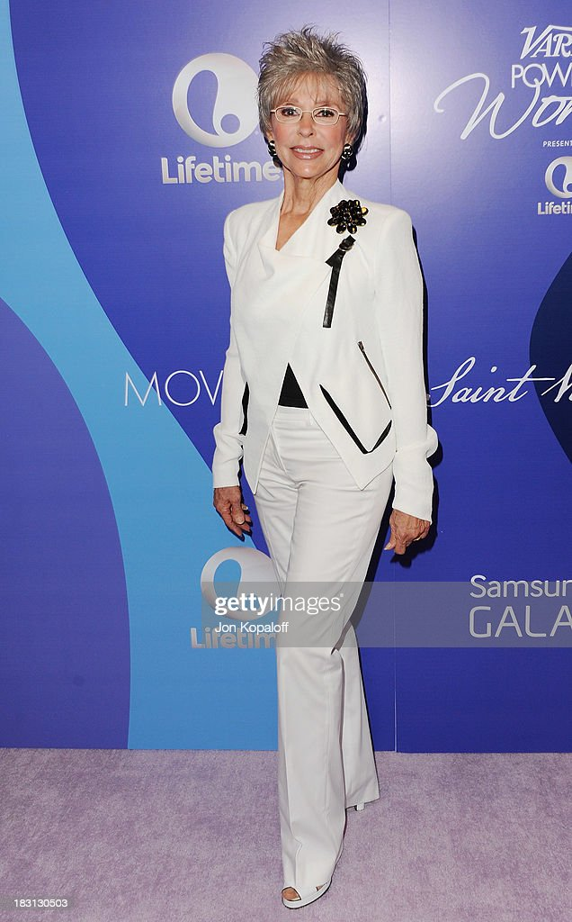 Actress <a gi-track='captionPersonalityLinkClicked' href=/galleries/search?phrase=Rita+Moreno&family=editorial&specificpeople=210549 ng-click='$event.stopPropagation()'>Rita Moreno</a> arrives at Variety's 5th Annual Power Of Women Event at the Beverly Wilshire Four Seasons Hotel on October 4, 2013 in Beverly Hills, California.
