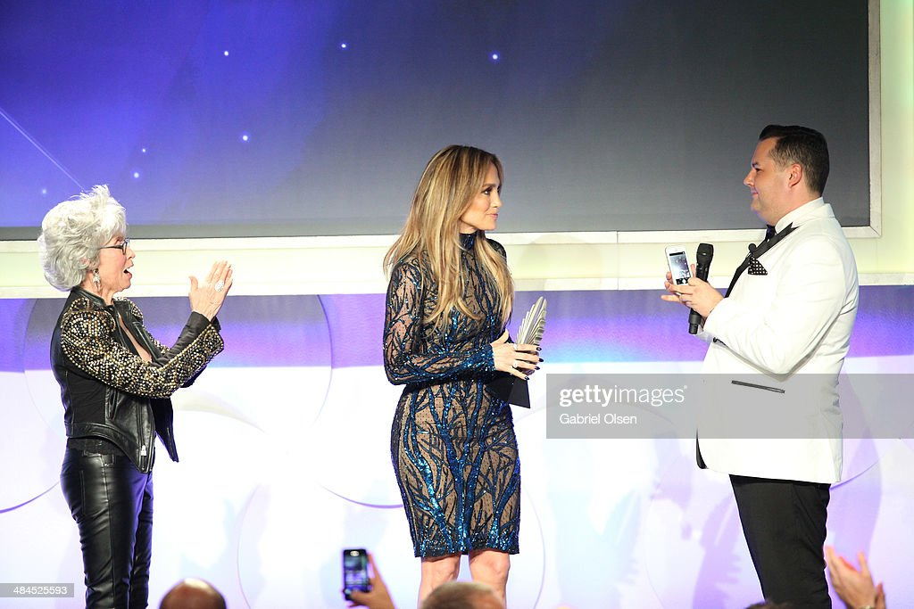 Actress Rita Moreno, recording artist Jennifer Lopez and TV Personality Ross Mathews speaking onstage at the 25th Annual GLAAD Media Awards at The Beverly Hilton Hotel on April 12, 2014 in Los Angeles, California.
