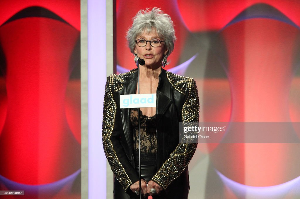 Actress <a gi-track='captionPersonalityLinkClicked' href=/galleries/search?phrase=Rita+Moreno&family=editorial&specificpeople=210549 ng-click='$event.stopPropagation()'>Rita Moreno</a> speaks onstage during the 25th Annual GLAAD Media Awards at The Beverly Hilton Hotel on April 12, 2014 in Beverly Hills, California.
