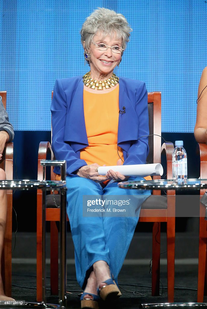 Actress Rita Moreno speaks onstage during the 'Nina's World' panel discussion at the NBCUniversal portion of the 2015 Summer TCA Tour at The Beverly Hilton Hotel on August 12, 2015 in Beverly Hills, California.