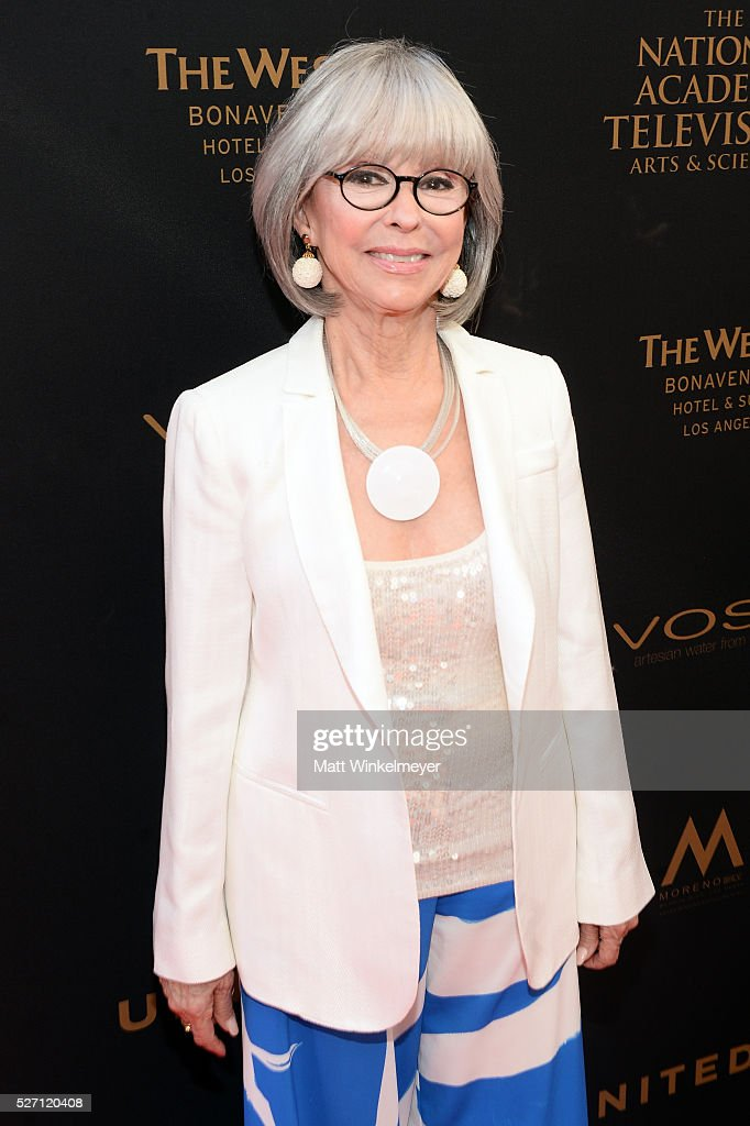 Actress <a gi-track='captionPersonalityLinkClicked' href=/galleries/search?phrase=Rita+Moreno&family=editorial&specificpeople=210549 ng-click='$event.stopPropagation()'>Rita Moreno</a> walks the red carpet at the 43rd Annual Daytime Emmy Awards at the Westin Bonaventure Hotel on May 1, 2016 in Los Angeles, California.