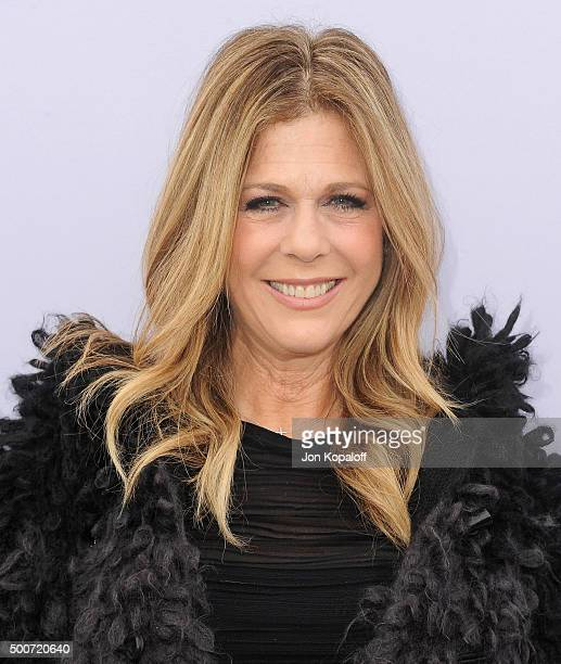 Actress Rita Wilson arrives at The Hollywood Reporter's Annual Women In Entertainment Breakfast at Milk Studios on December 9 2015 in Los Angeles...