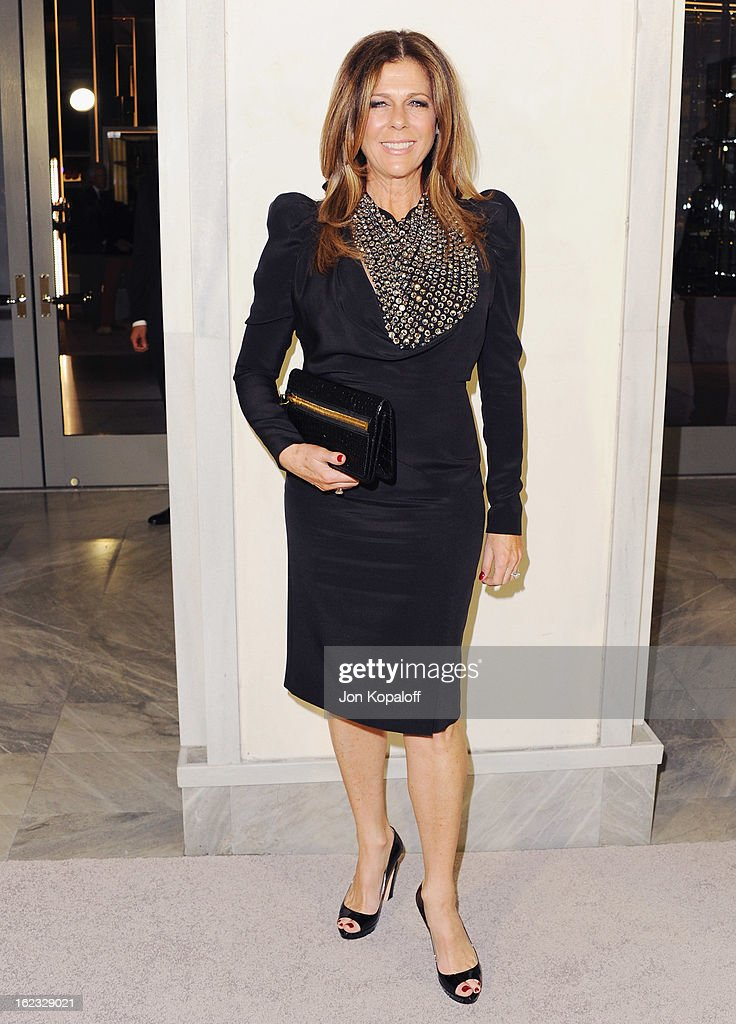 Actress Rita Wilson arrives at Tom Ford Cocktails In Support Of Project Angel Food Media at TOM FORD on February 21, 2013 in Beverly Hills, California.
