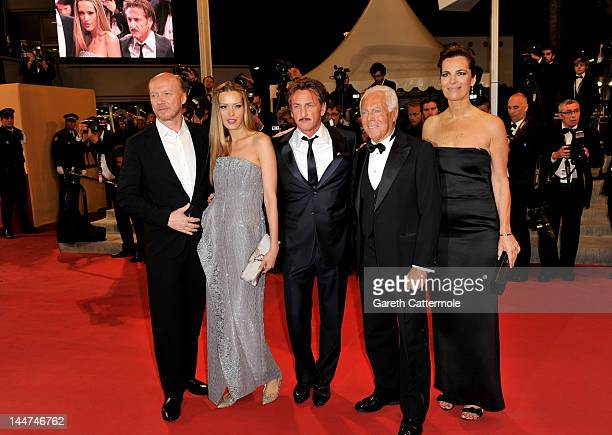 Actress Roberta Armani Designer Giorgio Armani actor Sean Penn Petra Nemcova and Paul Haggis of Haiti Carnival in Cannes during the 65th Annual...