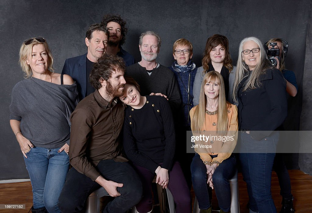 Actress Robin Malcolm, writer Gerard Lee, filmmaker Garth Davis, actor Peter Mullan, producer Philippa Campbell, musician Georgi Kay, filmmaker Jane Campion, actors Thomas M. Wright, Elisabeth Moss, and Holly Hunter pose for a portrait during the 2013 Sundance Film Festival at the WireImage Portrait Studio at Village At The Lift on January 19, 2013 in Park City, Utah.