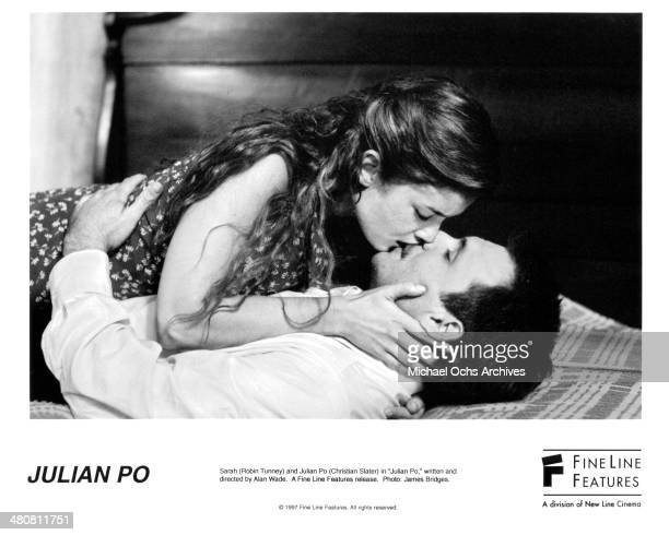 Actress Robin Tunney and actor Christian Slater in a scene from the Fine Line Feature movie 'Julian Po' circa 1997