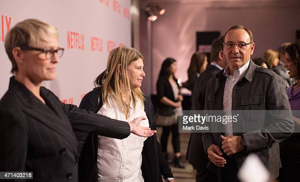 Actress Robin Wright and actor Kevin Spacey arrive at Netflix's 'House Of Cards' QA screening event held at the Samuel Goldwyn Theater on April 27...