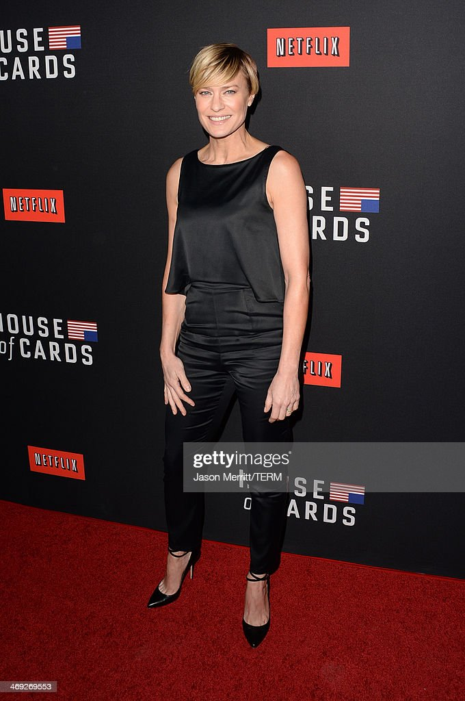 Actress Robin Wright arrives at the special screening of Netflix's 'House of Cards' Season 2 at the Directors Guild of America on February 13, 2014 in Los Angeles, California.