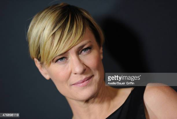 Actress Robin Wright arrives at the special screening of Netflix's 'House of Cards' Season 2 at Directors Guild of America on February 13 2014 in Los...