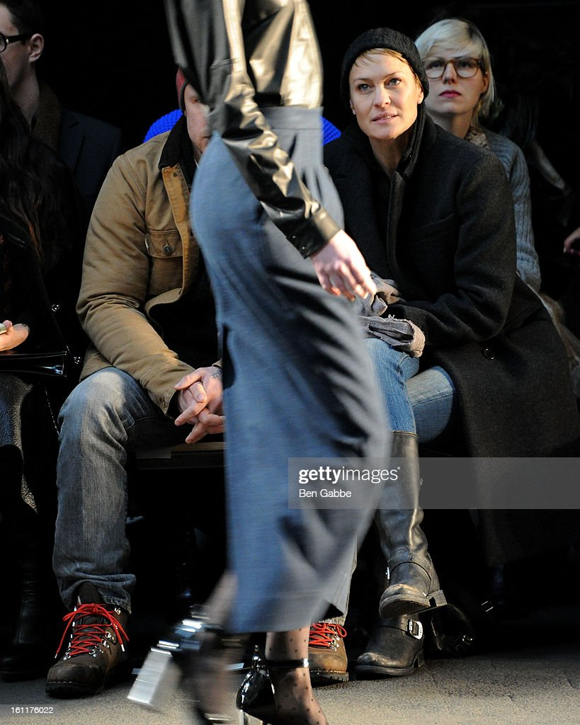 Actress <a gi-track='captionPersonalityLinkClicked' href=/galleries/search?phrase=Robin+Wright&family=editorial&specificpeople=207147 ng-click='$event.stopPropagation()'>Robin Wright</a> attend the Jen Kao fall 2013 fashion show during Mercedes-Benz Fashion Week at Skylight Studios at Moynihan Station on February 9, 2013 in New York City.