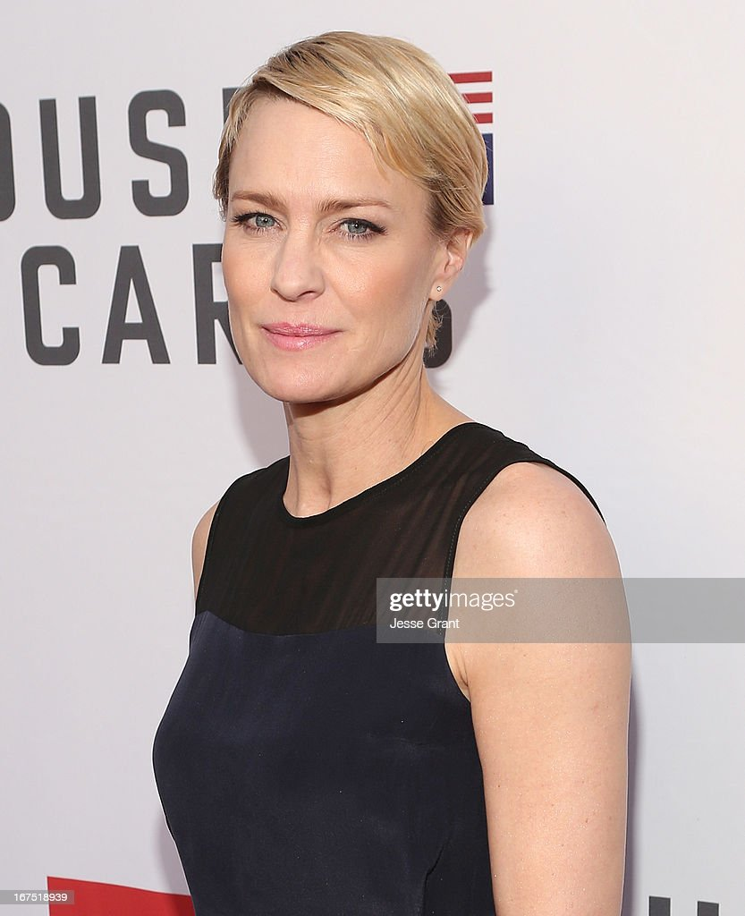 Actress <a gi-track='captionPersonalityLinkClicked' href=/galleries/search?phrase=Robin+Wright&family=editorial&specificpeople=207147 ng-click='$event.stopPropagation()'>Robin Wright</a> attends Netflix's 'House of Cards' For Your Consideration Q&A on April 25, 2013 at the Leonard H. Goldenson Theatre in North Hollywood, California.