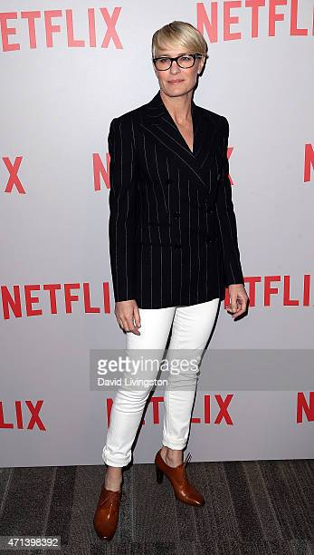 Actress Robin Wright attends Netflix's 'House of Cards' QA screening event at the Samuel Goldwyn Theater on April 27 2015 in Beverly Hills California