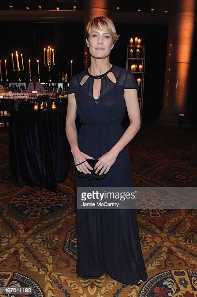 Actress Robin Wright attends the 2014 amfAR New York Gala at Cipriani Wall Street on February 5 2014 in New York City