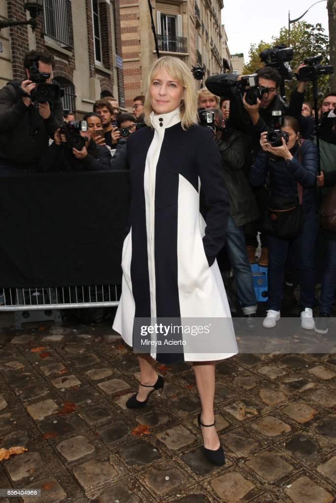 Actress, Robin Wright, attends the Valentino show as part of the Paris Fashion Week Womenswear Spring/Summer 2018 on October 1, 2017 in Paris, France.