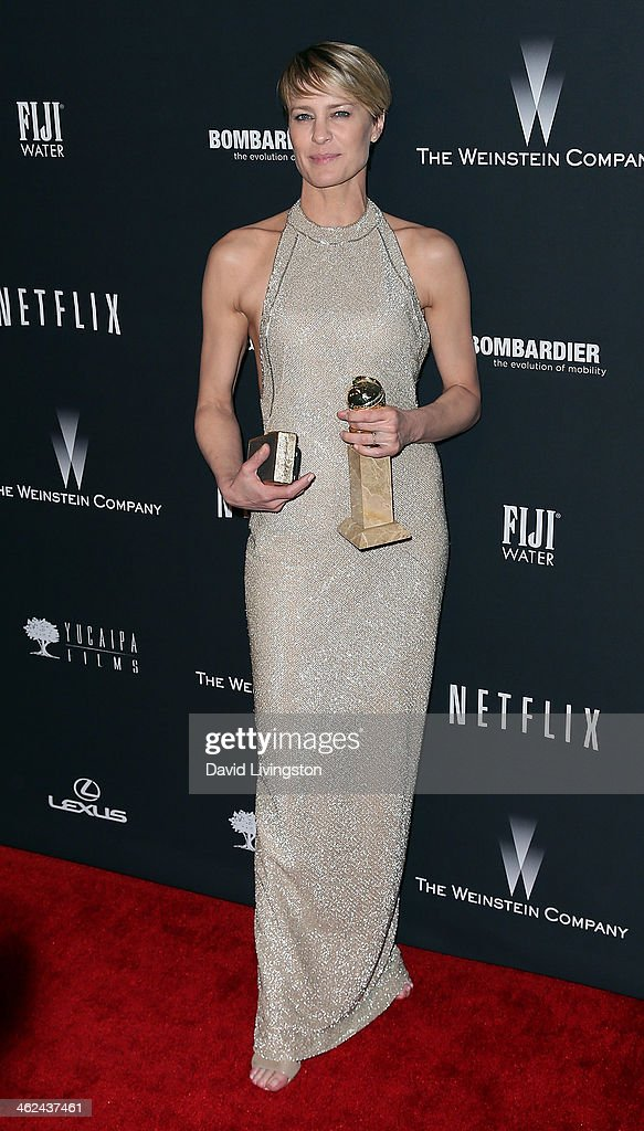 Actress <a gi-track='captionPersonalityLinkClicked' href=/galleries/search?phrase=Robin+Wright&family=editorial&specificpeople=207147 ng-click='$event.stopPropagation()'>Robin Wright</a> attends The Weinstein Company's 2014 Golden Globe Awards After Party at The Beverly Hilton hotel on January 12, 2014 in Beverly Hills, California.