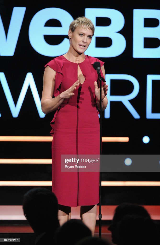 Actress <a gi-track='captionPersonalityLinkClicked' href=/galleries/search?phrase=Robin+Wright&family=editorial&specificpeople=207147 ng-click='$event.stopPropagation()'>Robin Wright</a> speaks onstage at the 17th Annual Webby Awards at Cipriani Wall Street on May 21, 2013 in New York City.