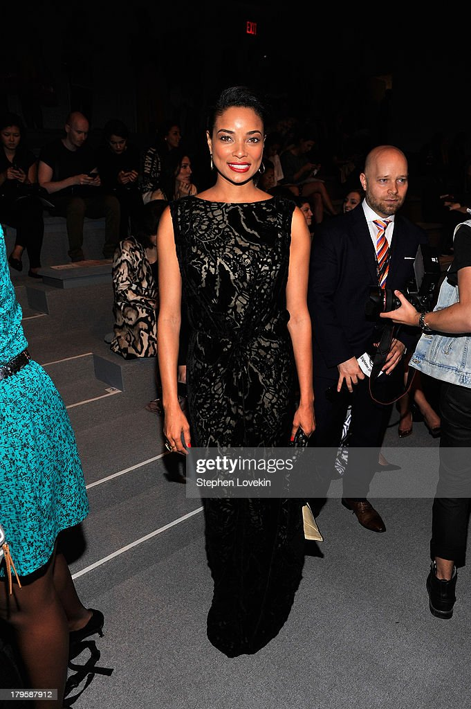 Actress <a gi-track='captionPersonalityLinkClicked' href=/galleries/search?phrase=Rochelle+Aytes&family=editorial&specificpeople=843599 ng-click='$event.stopPropagation()'>Rochelle Aytes</a> attends the Tadashi Shoji Spring 2014 fashion show during Mercedes-Benz Fashion Week at The Stage at Lincoln Center on September 5, 2013 in New York City.