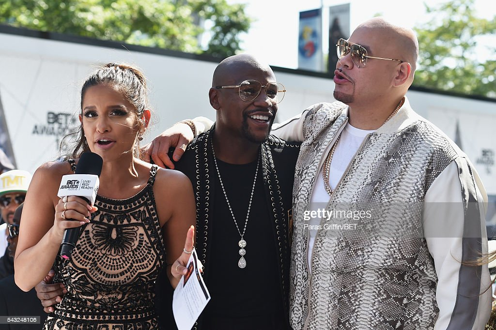 Actress <a gi-track='captionPersonalityLinkClicked' href=/galleries/search?phrase=Karrueche+Tran&family=editorial&specificpeople=9447374 ng-click='$event.stopPropagation()'>Karrueche Tran</a>, boxer Floyd Mayweather and recording artist <a gi-track='captionPersonalityLinkClicked' href=/galleries/search?phrase=Fat+Joe&family=editorial&specificpeople=201584 ng-click='$event.stopPropagation()'>Fat Joe</a> attend the 2016 BET Awards at the Microsoft Theater on June 26, 2016 in Los Angeles, California.