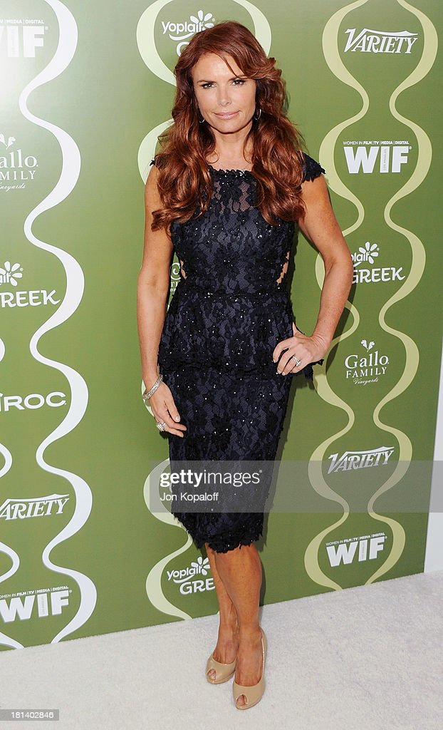 Actress <a gi-track='captionPersonalityLinkClicked' href=/galleries/search?phrase=Roma+Downey&family=editorial&specificpeople=214162 ng-click='$event.stopPropagation()'>Roma Downey</a> arrives at the Variety And Women In Film Pre-Emmy Party at Scarpetta on September 20, 2013 in Beverly Hills, California.