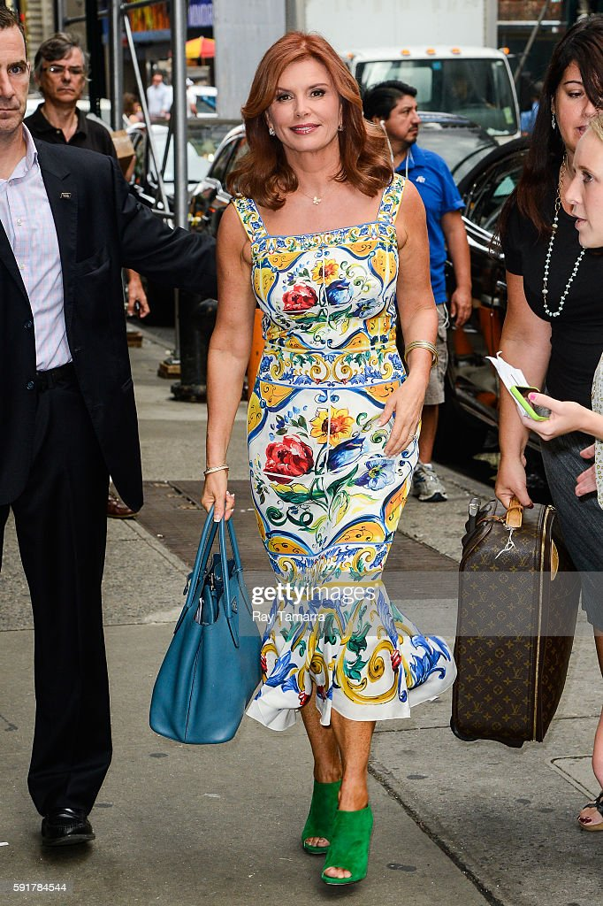 Actress Roma Downey enters the 'Good Morning America' taping at the ABC Times Square Studios on August 18 2016 in New York City