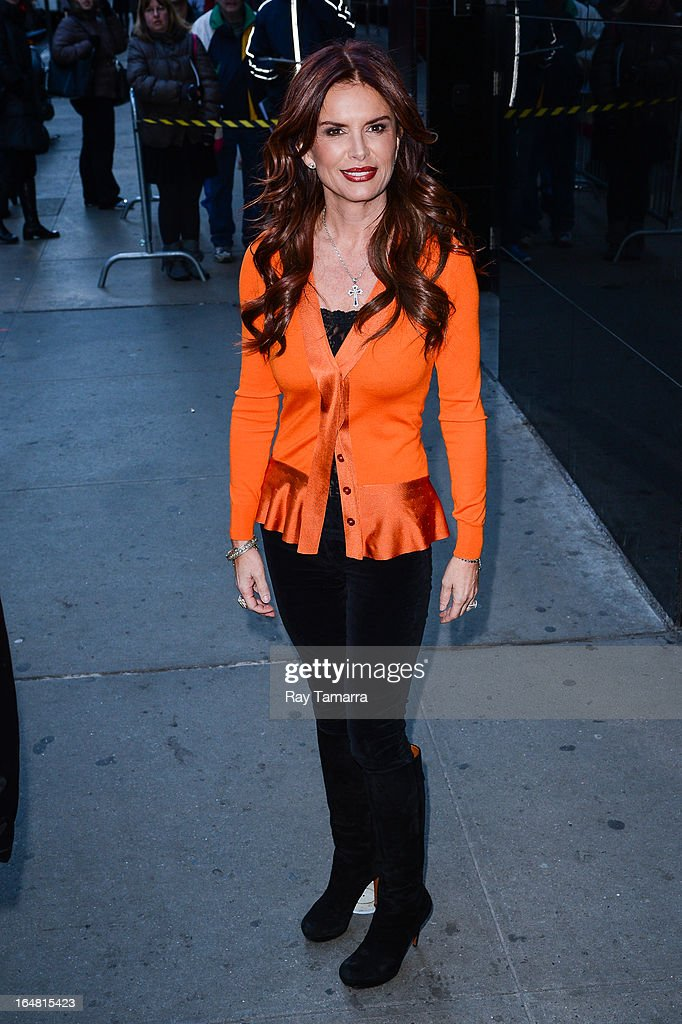 Actress Roma Downey leaves the 'Good Morning America' taping at the ABC Times Square Studios on March 28, 2013 in New York City.