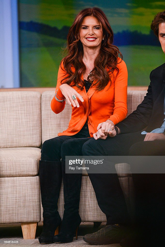 Actress Roma Downey tapes an interview at 'Good Morning America' at the ABC Times Square Studios on March 28, 2013 in New York City.