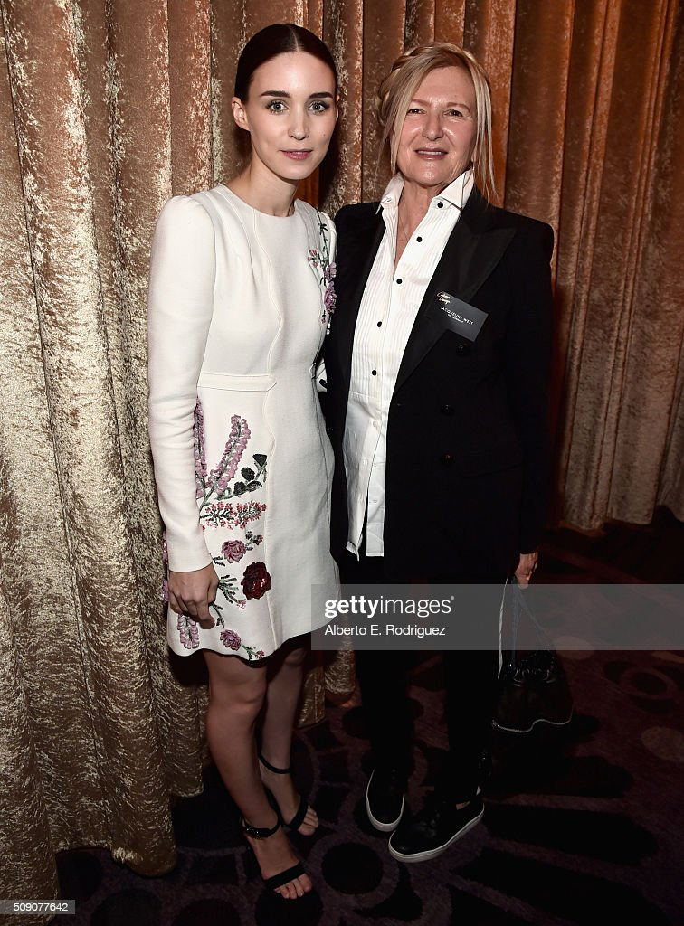 Actress <a gi-track='captionPersonalityLinkClicked' href=/galleries/search?phrase=Rooney+Mara&family=editorial&specificpeople=5669181 ng-click='$event.stopPropagation()'>Rooney Mara</a> (L) and costume designer <a gi-track='captionPersonalityLinkClicked' href=/galleries/search?phrase=Jacqueline+West+-+Costume+Designer&family=editorial&specificpeople=2778830 ng-click='$event.stopPropagation()'>Jacqueline West</a> attend the 88th Annual Academy Awards nominee luncheon on February 8, 2016 in Beverly Hills, California.
