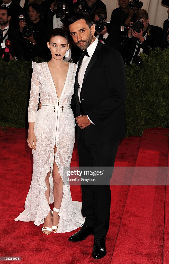 Actress Rooney Mara and Riccardo Tisci attend the Costume Institute Gala for the 'PUNK: Chaos to Couture' exhibition at the Metropolitan Museum of Art on May 6, 2013 in New York City.