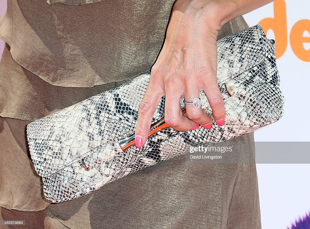 Actress Rosa Blasi (purse & ring detail) attends the Nickelodeon Kids' Choice Sports Awards 2014 at Pauley Pavilion on July 17, 2014 in Los Angeles, California.