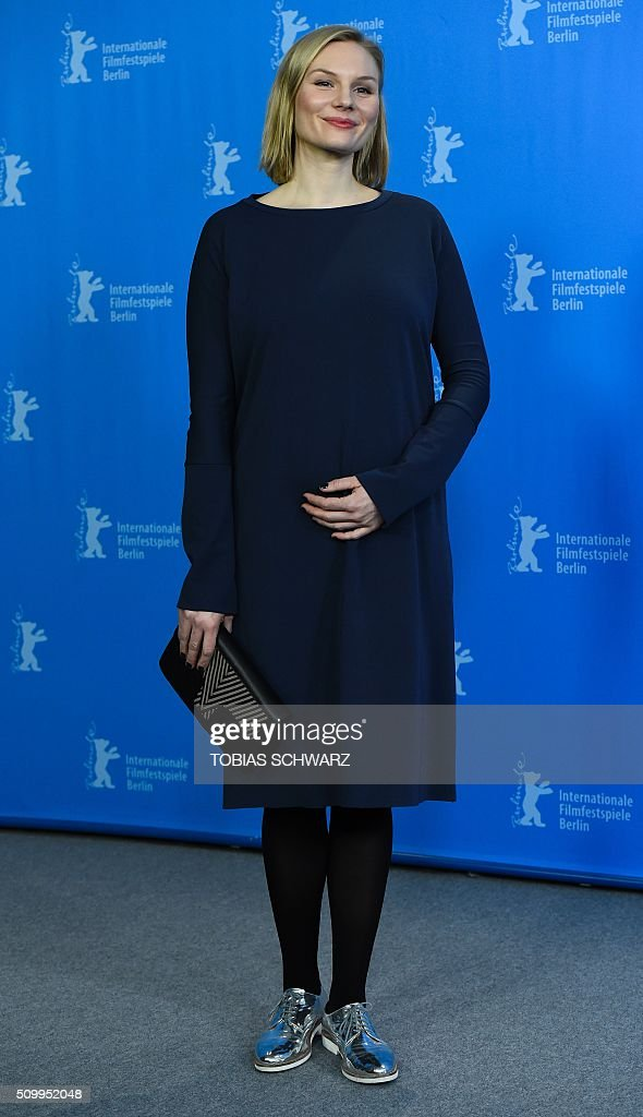 Actress Rosalie Thomass poses during a photo call for the film 'Gruesse aus Fukushima' (Fukushima, Mon Amour) presented in the Panorama Special section of the 66th Berlinale Film Festival in Berlin on February 13, 2016. / AFP / TOBIAS SCHWARZ