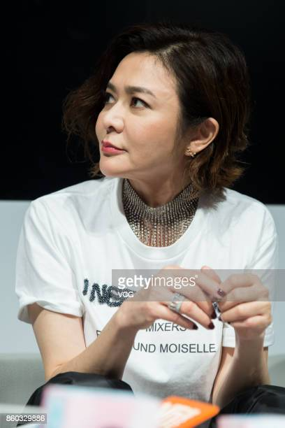 Actress Rosamund Kwan Chilam receives interview about her own brand Rosamund MOISELLE during the Shanghai Fashion Week Spring/Summer 2018 on October...