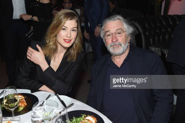 Actress Rosamund Pike and Oscar Award Winning Actor Robert De Niro attend the exclusive gala event 'For the Love of Cinema' during the Tribeca Film...
