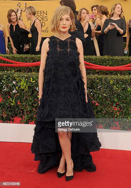 Actress Rosamund Pike arrives at the 21st Annual Screen Actors Guild Awards at The Shrine Auditorium on January 25 2015 in Los Angeles California