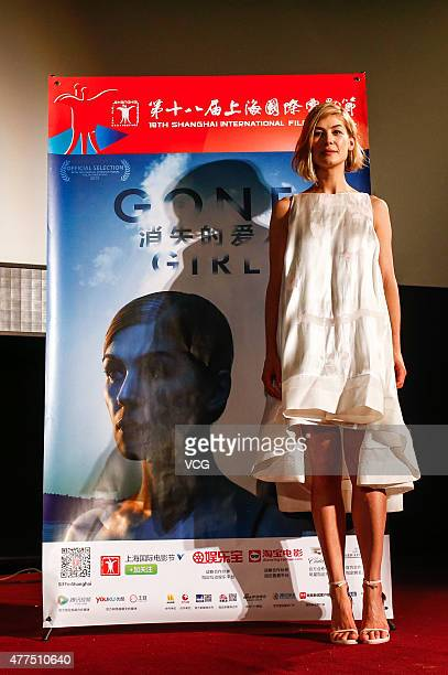 Actress Rosamund Pike attends 'Gone Girl' premiere during the 18th Shanghai International Film Festival on June 17 2015 in Shanghai China