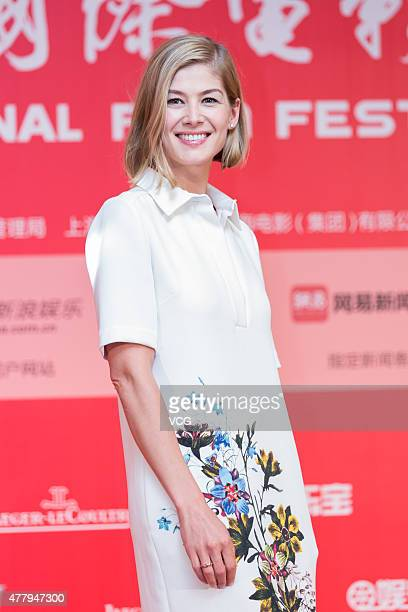 Actress Rosamund Pike attends 'Gone Girl' press conference as part of 18th Shanghai International Film Festival on June 20 2015 in Shanghai China